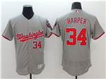 Washington Nationals #34 Bryce Harper Gray Flex Base Jersey