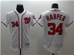 Washington Nationals #34 Bryce Harper White Flex Base Jersey