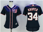Washington Nationals #34 Bryce Harper Women's Navy Blue Cool Base Jersey