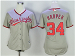 Washington Nationals #34 Bryce Harper Women's Gray Cool Base Jersey