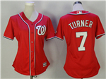 Washington Nationals #7 Trea Turner Women's Red Cool Base Jersey