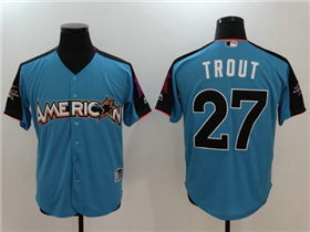 American League #27 Mike Trout Blue 2017 MLB All-Star Game Home Run Derby Jersey