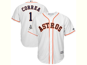 Houston Astros #1 Carlos Correa White 2017 World Series Patch Cool Base Jersey