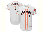 Houston Astros #1 Carlos Correa White 2017 World Series Patch Flex Base Jersey