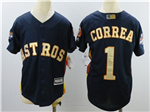 Houston Astros #1 Carlos Correa Youth Navy 2018 Gold Program Cool Base Jersey