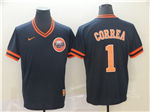 Houston Astros #1 Carlos Correa Cooperstown Throwback Navy Jersey