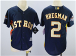 Houston Astros #2 Alex Bregman Youth Navy 2018 Gold Program Cool Base Jersey
