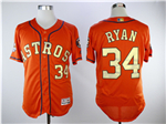 Houston Astros #34 Nolan Ryan Orange 2018 Gold Program Flex Base Jersey