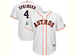 Houston Astros #4 George Springer White 2017 World Series Patch Cool Base Jersey