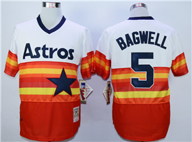 Houston Astros #5 Jeff Bagwell hrowback Orange Cooperstown Jersey