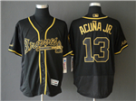 Atlanta Braves #13 Ronald Acuna Jr. Black Gold Flex Base Jersey