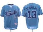 Atlanta Braves #13 Ronald Acuna Jr. Light Blue Cooperstown Jersey