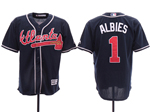 Atlanta Braves #1 Ozzie Albies 2019 Alternate Navy Cool Base Jersey