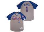 Atlanta Braves #1 Ozzie Albies Gray Turn Back the Clock Jersey