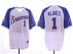 Atlanta Braves #1 Ozzie Albies White Throwback Jersey