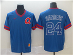 Atlanta Braves #24 Deion Sanders Throwback Blue Jersey