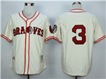 Boston Braves #3 Babe Ruth 1935 Throwback Cream Jersey