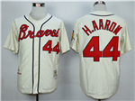 Atlanta Braves #44 Hank Aaron Throwback Cream Jersey