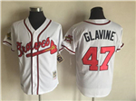 Atlanta Braves #47 Tom Glavine Throwback White Jersey
