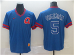 Atlanta Braves #5 Freddie Freeman Throwback Blue Jersey