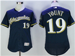 Milwaukee Brewers #19 Robin Yount Alternate Road Navy Flex Base Jersey