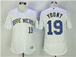 Milwaukee Brewers #19 Robin Yount White Pinstripe Flex Base Jersey