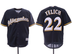 Milwaukee Brewers #22 Christian Yelich Alternate Navy Cool Base Jersey