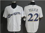 Milwaukee Brewers #22 Christian Yelich White Cool Base Jersey