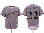 Milwaukee Brewers #22 Christian Yelich Grey Cool Base Jersey