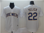 Milwaukee Brewers #22 Christian Yelich White Pinstripe Cool Base Jersey