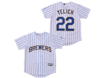 Milwaukee Brewers #22 Christian Yelich Youth White Pinstripe Cool Base Jersey