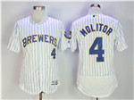 Milwaukee Brewers #4 Paul Molitor White Pinstripe Flex Base Jersey