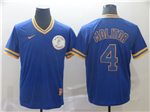 Milwaukee Brewers #4 Paul Molitor Cooperstown Throwback Blue Jersey
