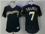 Milwaukee Brewers #7 Eric Thames Alternate Road Navy Flex Base Jersey