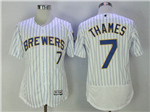 Milwaukee Brewers #7 Eric Thames White Pinstripe Flex Base Jersey