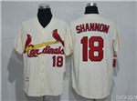 St. Louis Cardinals #18 Mike Shannon Throwback Cream Jersey