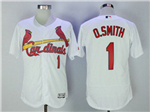 St. Louis Cardinals #1 Ozzie Smith White Flex Base Jersey
