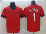 St. Louis Cardinals #1 Ozzie Smith Throwback Red Jersey
