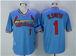 St. Louis Cardinals #1 Ozzie Smith 1982 Throwback Blue Jersey