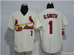 St. Louis Cardinals #1 Ozzie Smith Throwback Cream Jersey