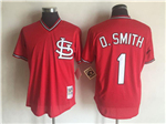 St. Louis Cardinals #1 Ozzie Smith Throwback Red Cooperstown Mesh Batting Practice Jersey