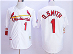 St. Louis Cardinals #1 Ozzie Smith Throwback White Jersey