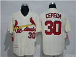 St. Louis Cardinals #30 Orlando Cepeda Throwback Cream Jersey