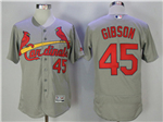 St. Louis Cardinals #45 Bob Gibson Grey Flex Base Jersey