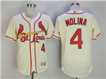 St. Louis Cardinals #4 Yadier Molina Cream Flex Base Jersey