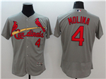 St. Louis Cardinals #4 Yadier Molina Grey Flex Base Jersey