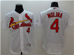 St. Louis Cardinals #4 Yadier Molina White Flex Base Jersey