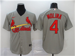 St. Louis Cardinals #4 Yadier Molina Gray 2020 Cool Base Jersey