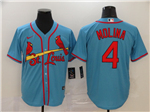 St. Louis Cardinals #4 Yadier Molina Light Blue 2020 Cool Base Jersey