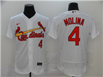 St. Louis Cardinals #4 Yadier Molina White 2020 Flex Base Jersey